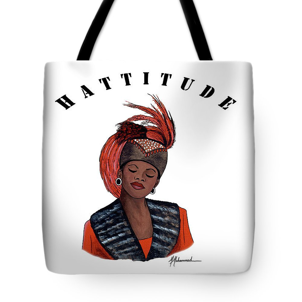 Hat Tote Bag featuring the painting Hattitude #40 by Marcella Muhammad