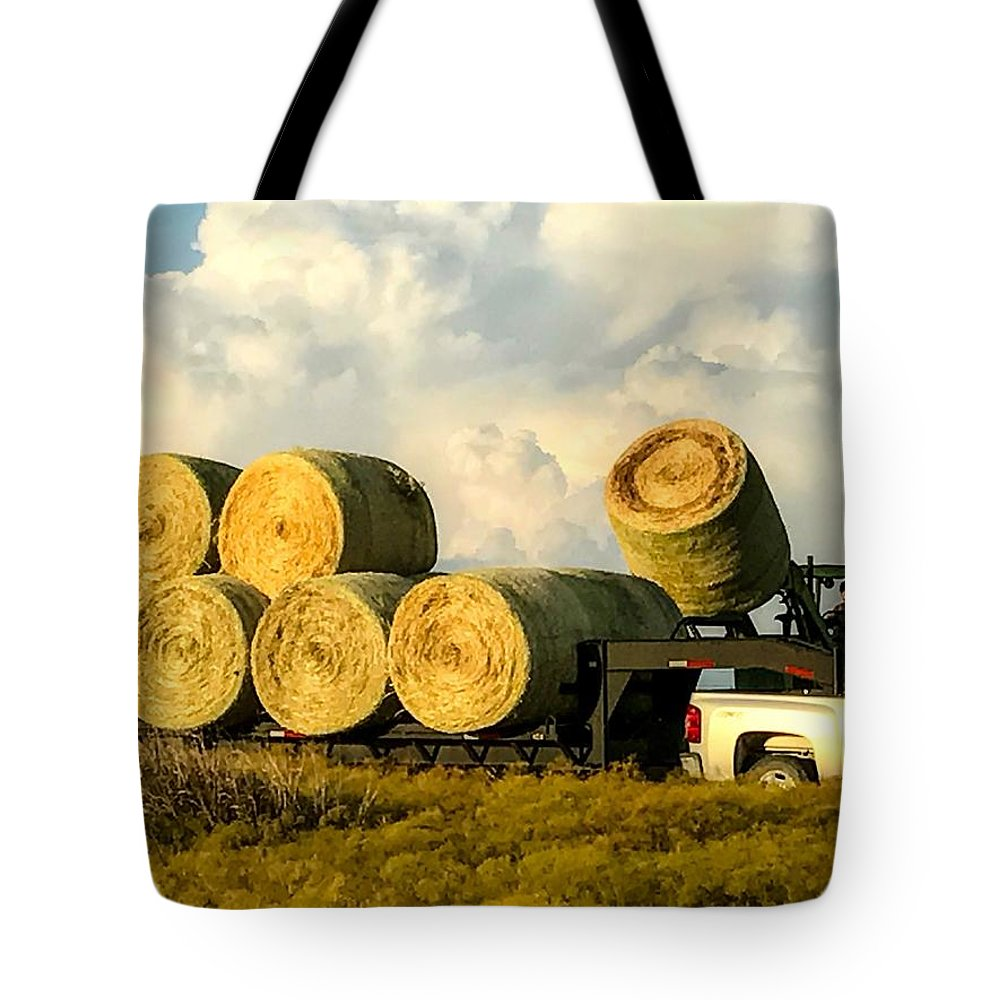 Hay Tote Bag featuring the photograph Hauling Hay Bales 2 by Jeanie Mann