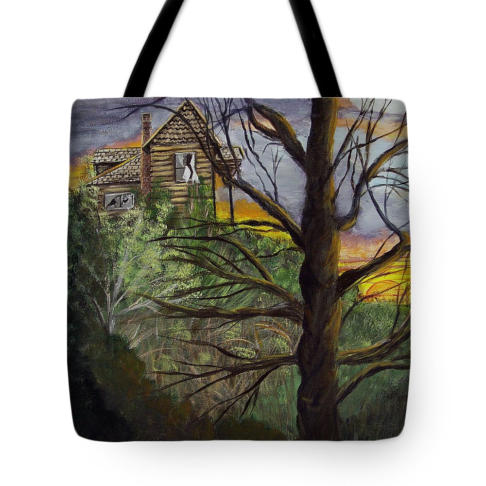 House Tote Bag featuring the painting Haunted House by Quwatha Valentine
