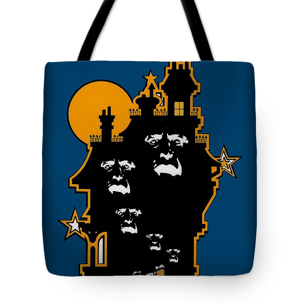Ghosts Tote Bag featuring the drawing Haunted by Lance Miyamoto