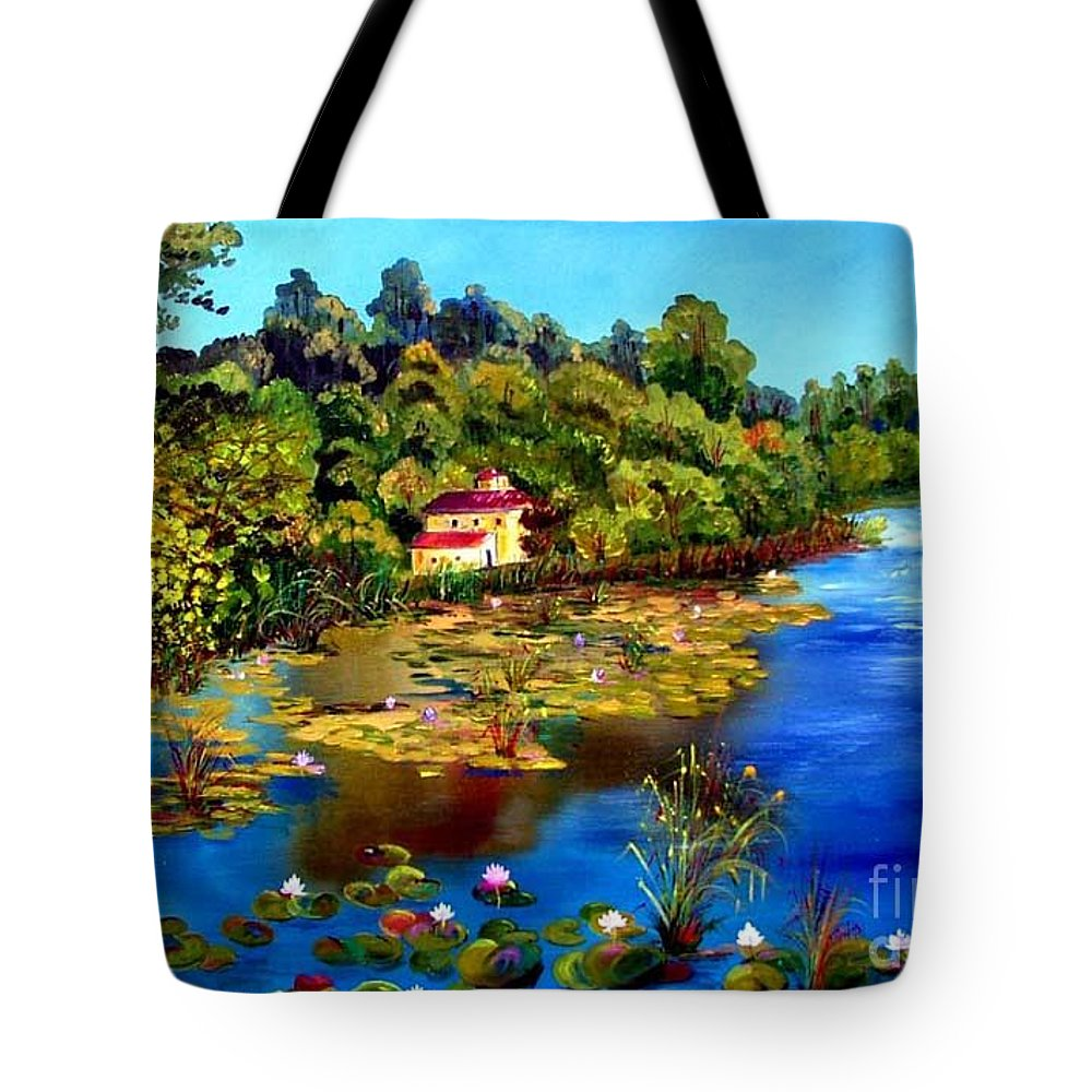 Lake Tote Bag featuring the painting Hause By The Lake by Inna Montano