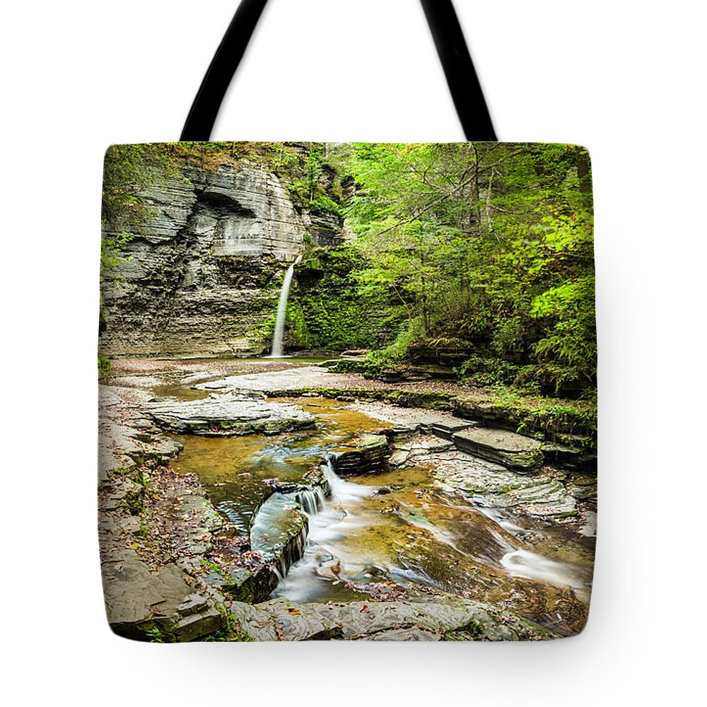 New York Tote Bag featuring the photograph Eagle Falls by Karen Jorstad