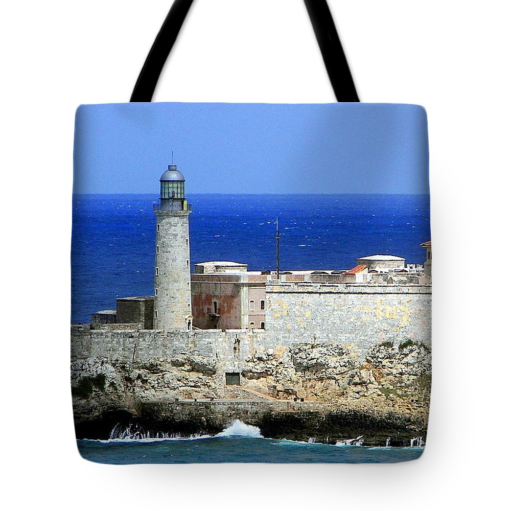 Cuba Tote Bag featuring the photograph Havana Harbor Lighthouse by Karen Wiles