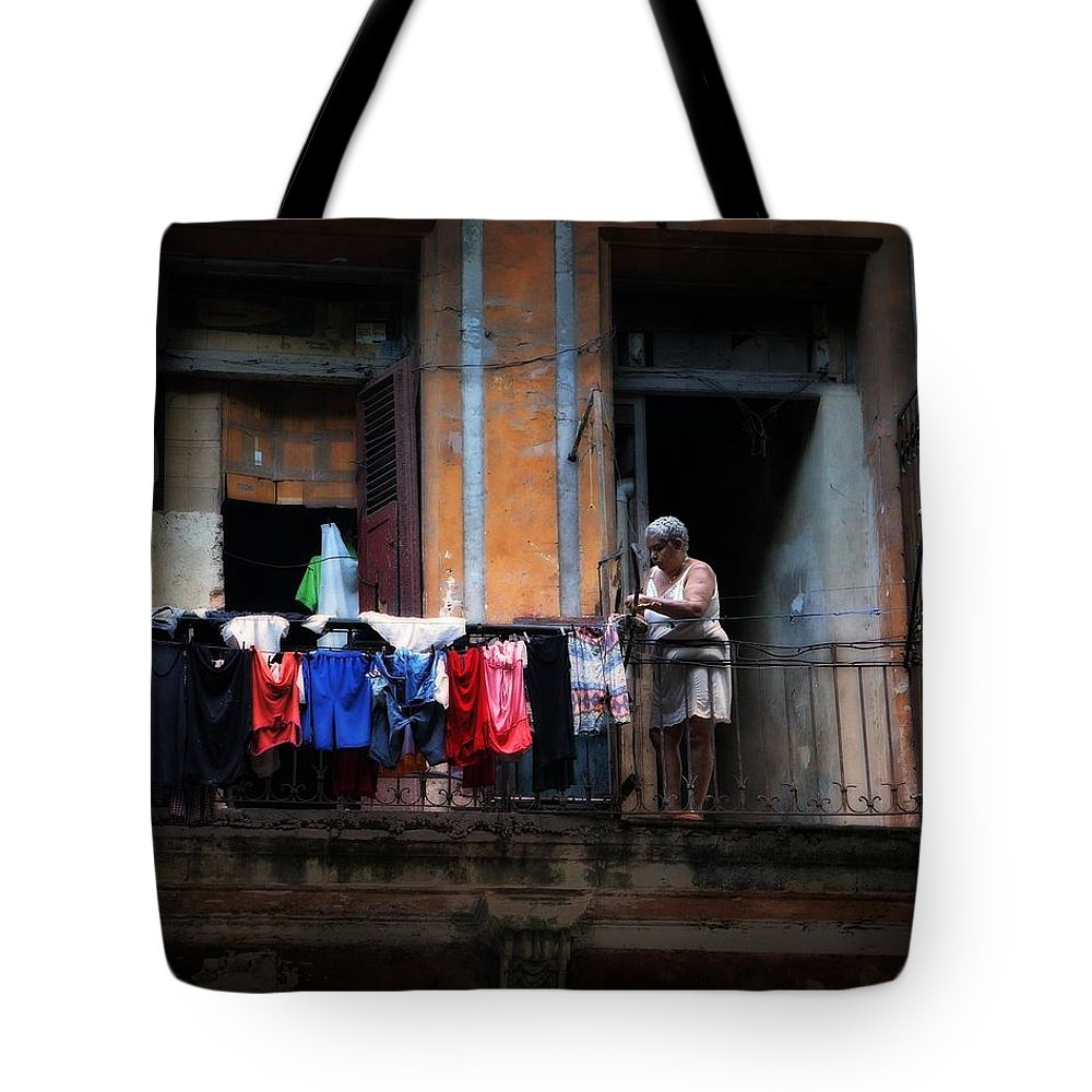 Havana Tote Bag featuring the photograph Havana Laundry No. 1 by Cheryl Kurman