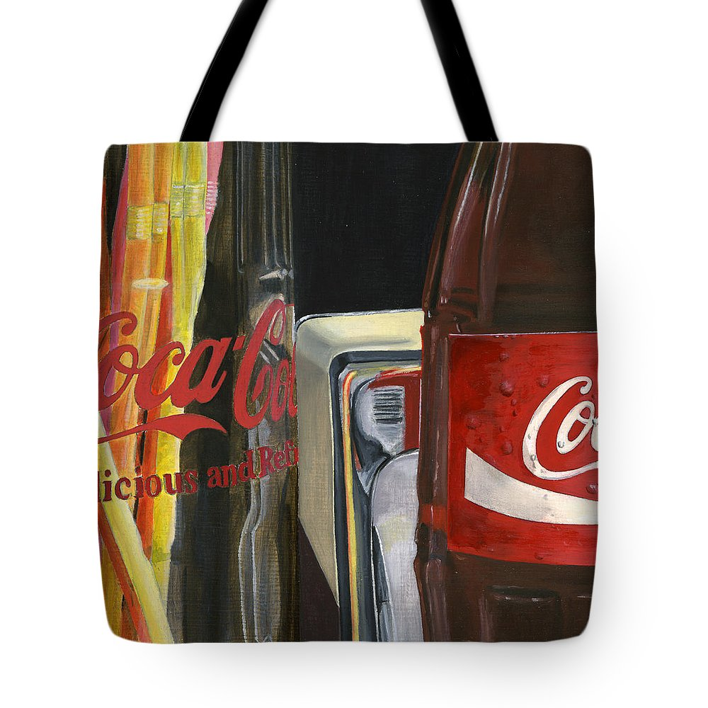 Coca Tote Bag featuring the painting Have A Coke... by Rob De Vries
