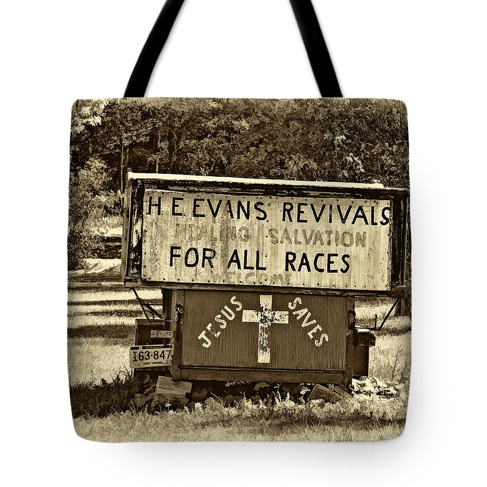 West Virginia Tote Bag featuring the photograph Have Miracle - Will Travel 2 - Sepia by Steve Harrington