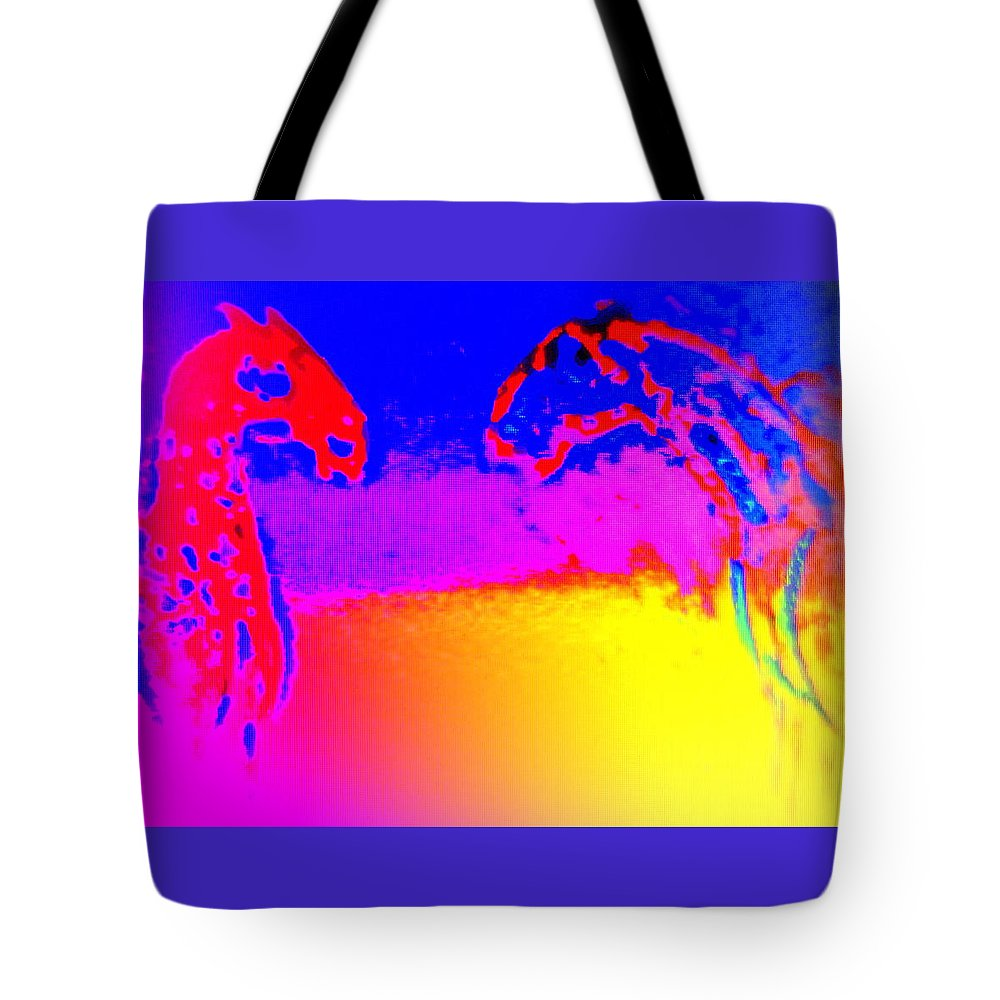 House Tote Bag featuring the painting Having A Long Horse Talk by Hilde Widerberg