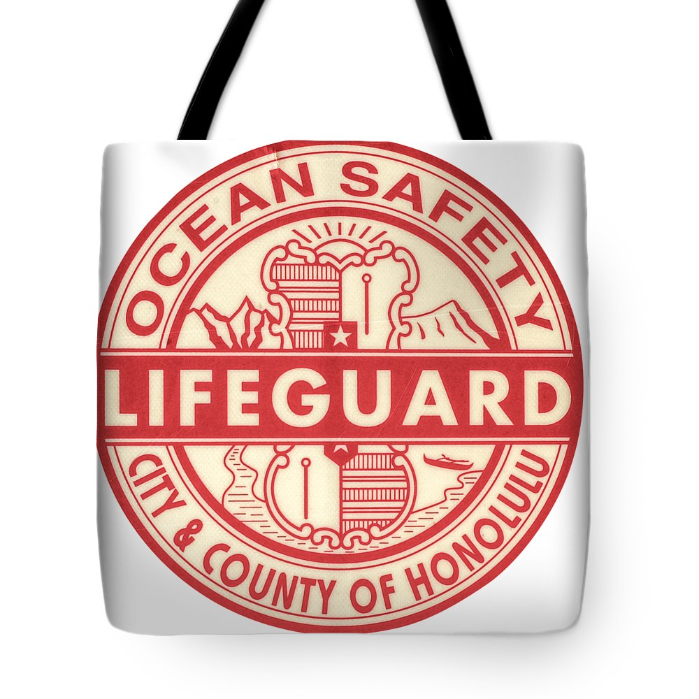 a1baca9c617 Aged Tote Bag featuring the photograph Hawaii Lifeguard Logo by Mr Doomits