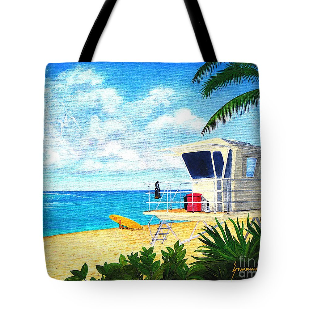 Hawaii Tote Bag featuring the painting Hawaii North Shore Banzai Pipeline by Jerome Stumphauzer