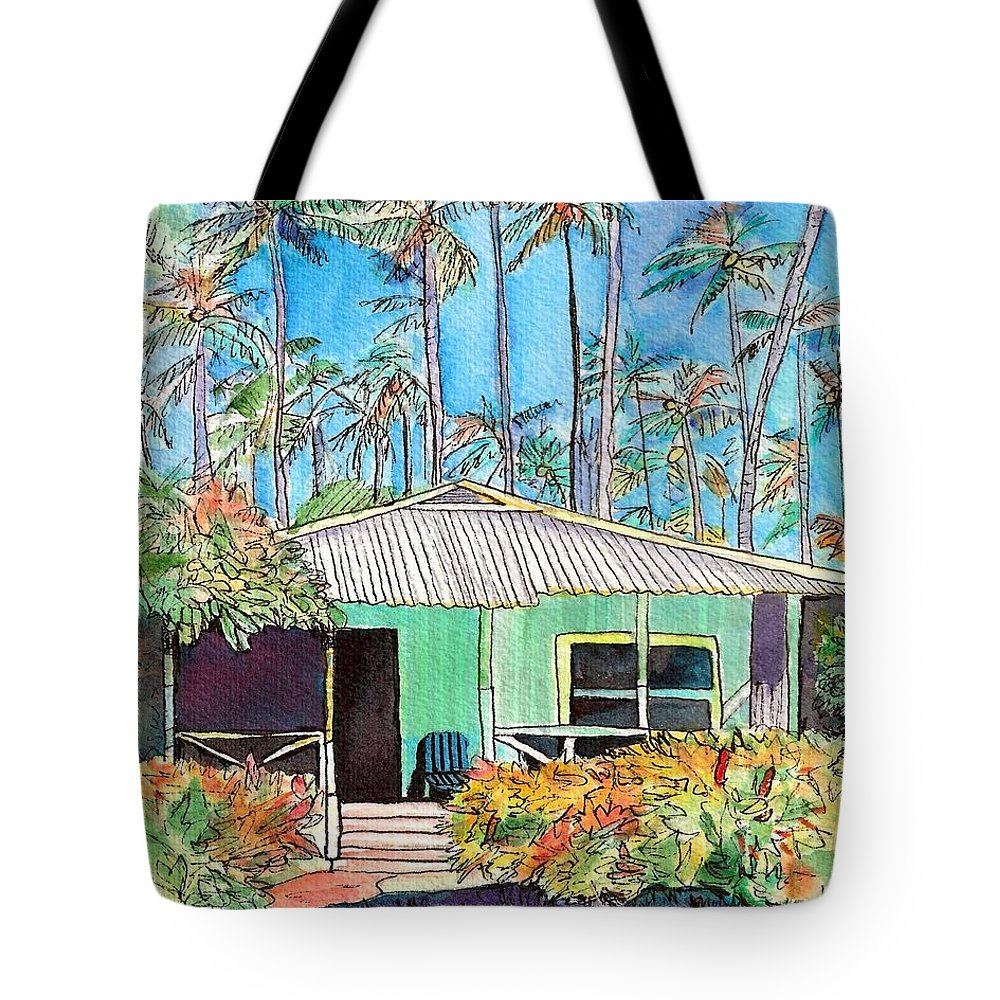 Cottage Tote Bag featuring the painting Hawaiian Cottage I by Marionette Taboniar