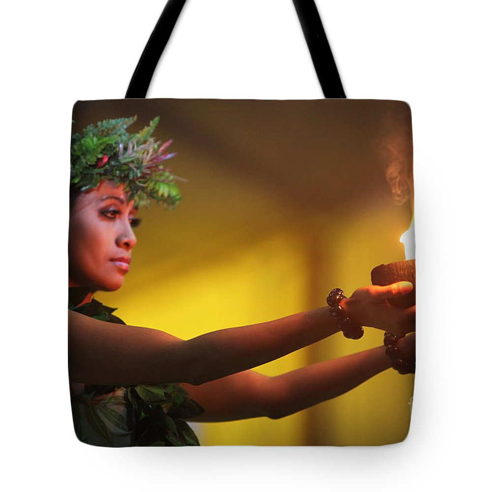 Fire Tote Bag featuring the photograph Hawaiian Dancer And Firepots by Nadine Rippelmeyer