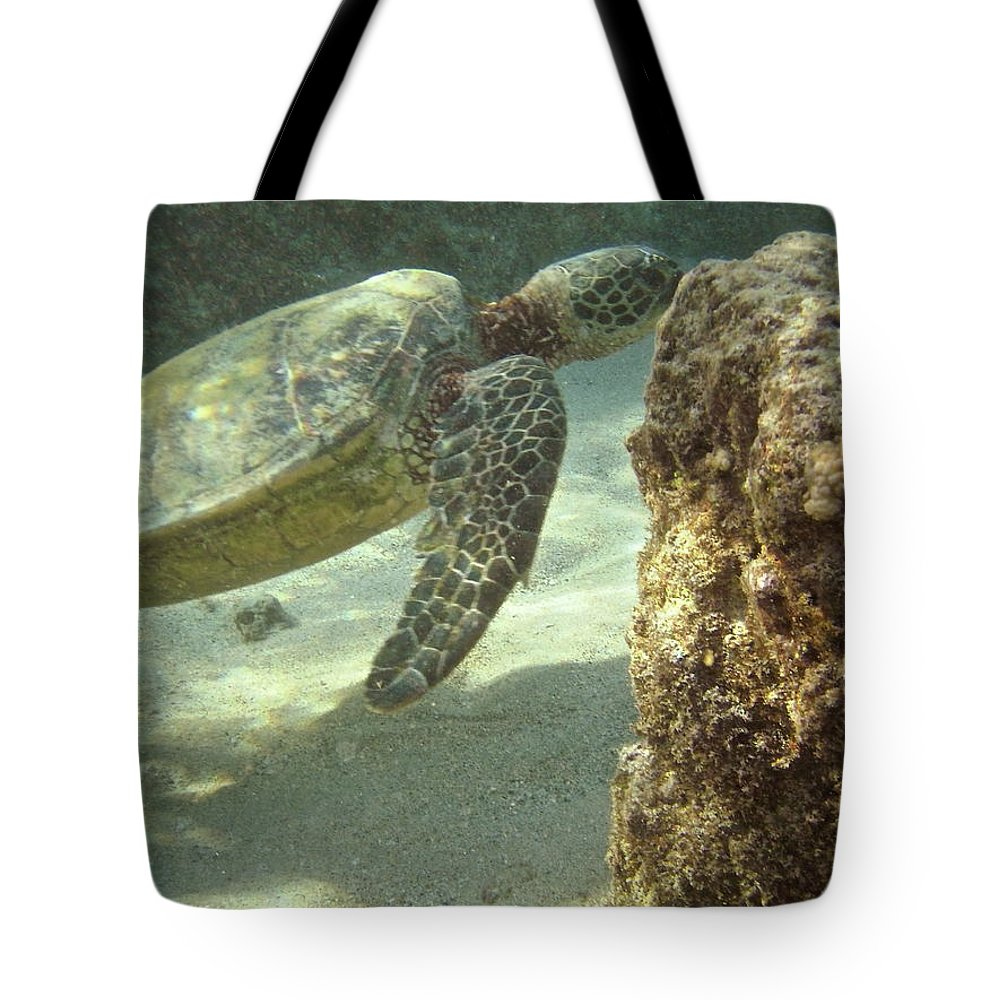 Big Tote Bag featuring the photograph Hawaiian Green Sea Turtle by Michael Peychich