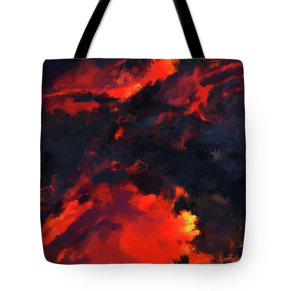 Hawaii Tote Bag featuring the painting Hawaiian Volcano Lava Flow by Kedoki
