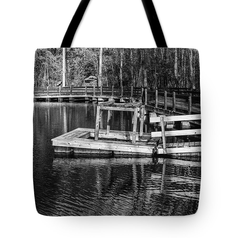 35mm Film Tote Bag featuring the photograph Hawk Island Michigan Dock by John McGraw