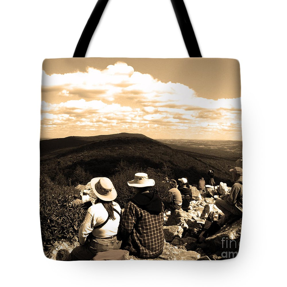 Mountain Tote Bag featuring the photograph Hawk Mountain In Sepia by Donna Brown