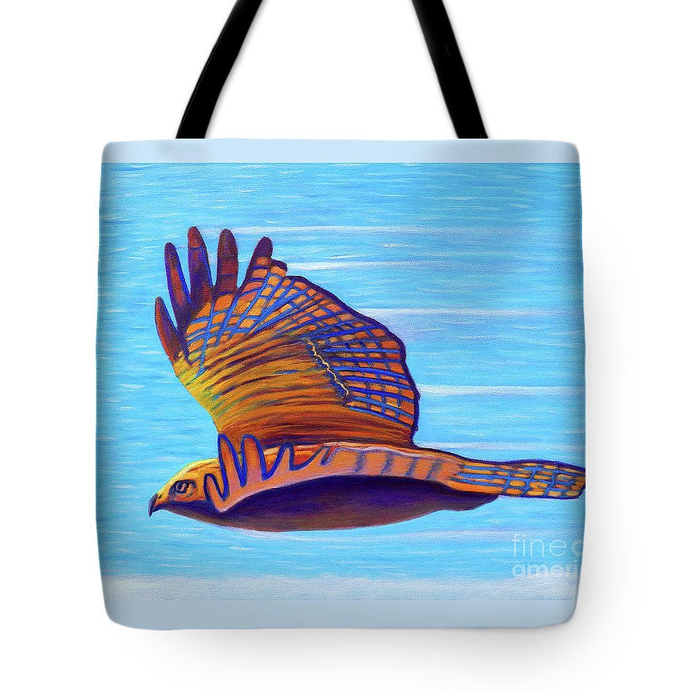 Hawk Tote Bag featuring the painting Hawk Speed by Brian Commerford