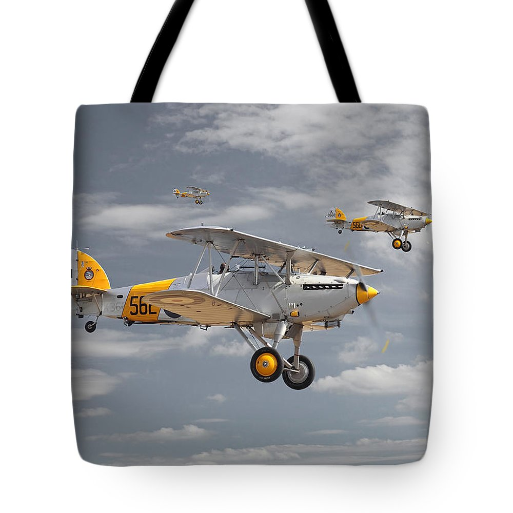 Aircraft Tote Bag featuring the digital art Hawker Nimrod by Pat Speirs