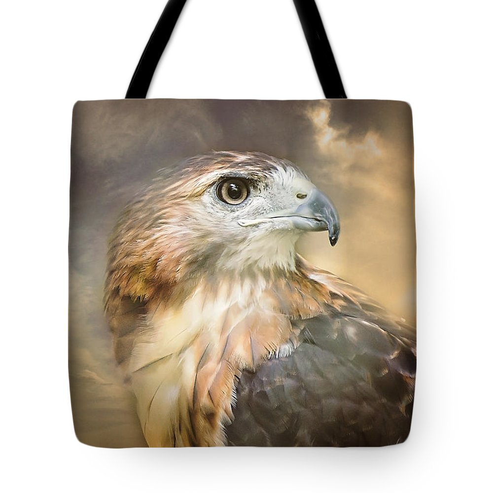 Red Tailed Hawk Tote Bag featuring the photograph Hawkeyed by Heather Applegate