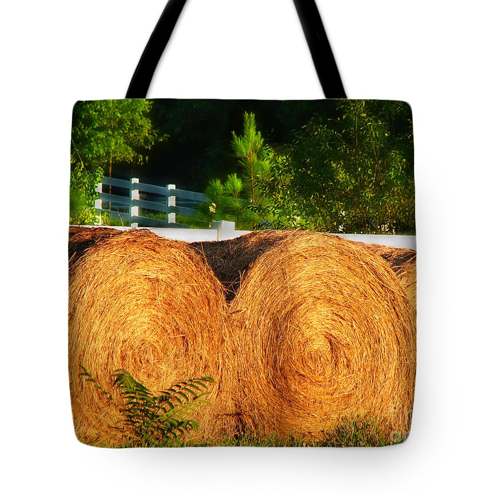 Landscape Tote Bag featuring the photograph Hay Bales by Todd Blanchard