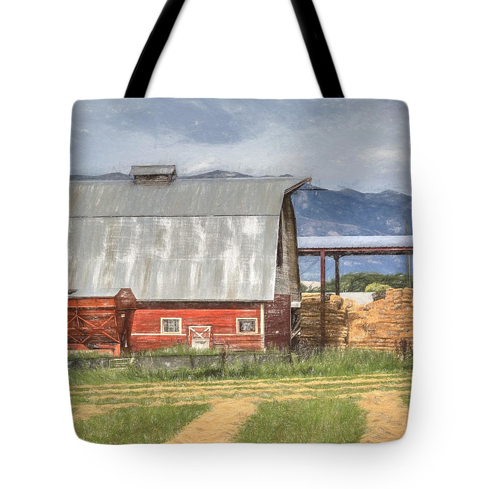 Hay Barn Tote Bag featuring the photograph Hay Barn by Donna Kennedy