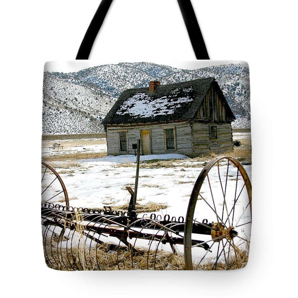 Utah Tote Bag featuring the photograph Hay Rake At Butch Cassidy by Nelson Strong