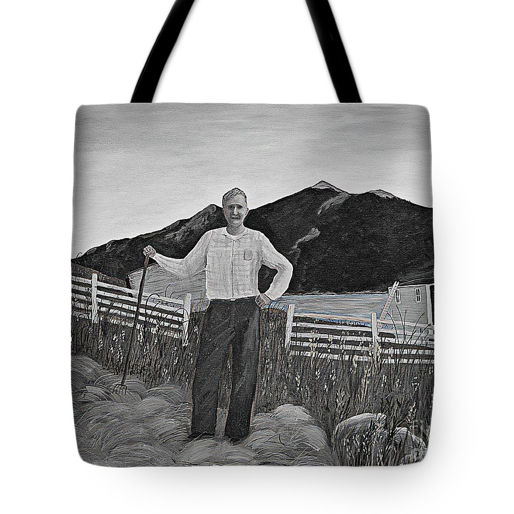 Barbara Griffin Tote Bag featuring the painting Haymaker With Pitchfork B W by Barbara Griffin