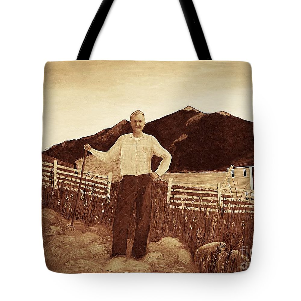 Haymaker With Pitchfork Vintage Tote Bag featuring the painting Haymaker With Pitchfork Vintage by Barbara Griffin
