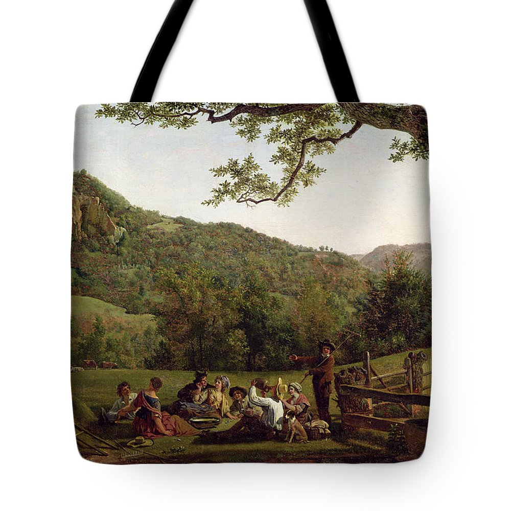 Haymakers Tote Bag featuring the painting Haymakers Picnicking In A Field by Jean Louis De Marne