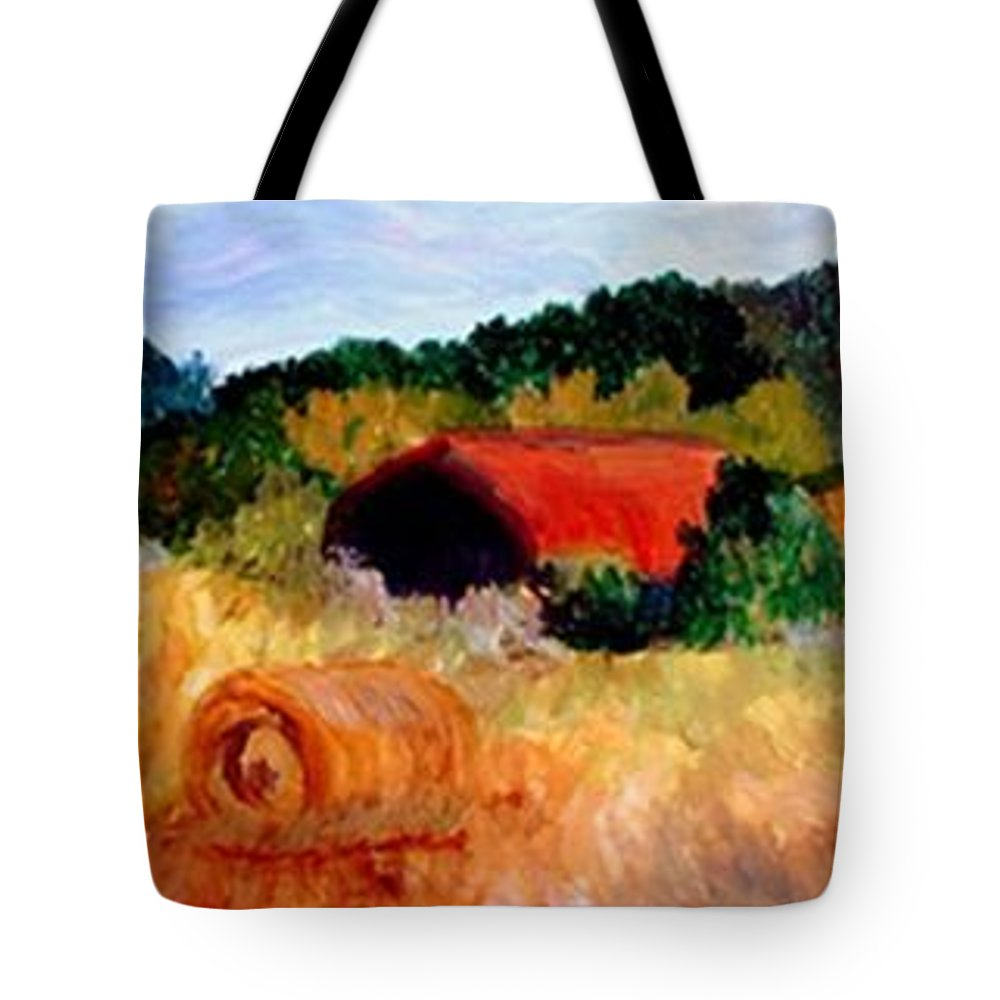 Hayrolls Tote Bag featuring the painting Hayrolls by Gail Kirtz