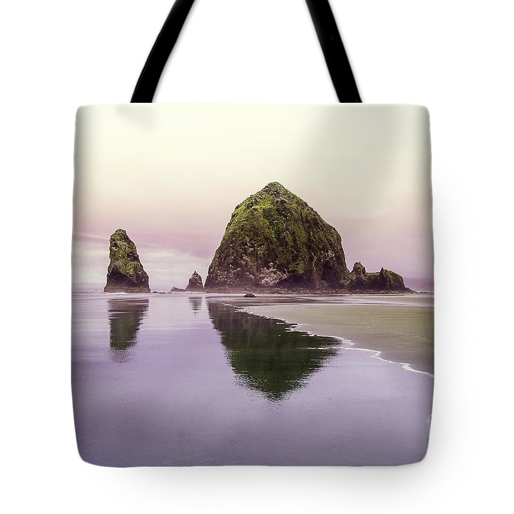 Cannon Beach Tote Bag featuring the photograph Haystack Rock 1 by Pete Saloutos