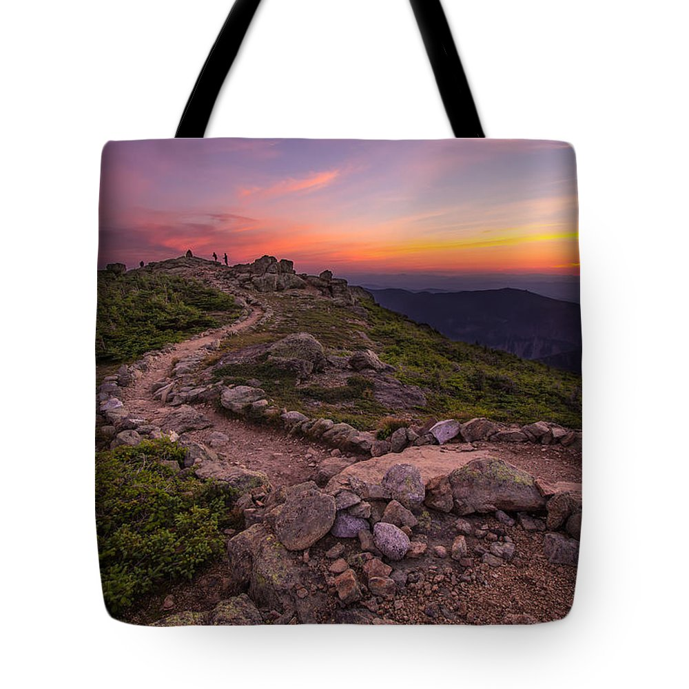 Haystack Tote Bag featuring the photograph Haystack Sunset by Chris Whiton