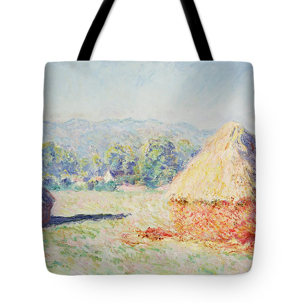 Haystacks Tote Bag featuring the painting Haystacks In The Sun by Claude Monet