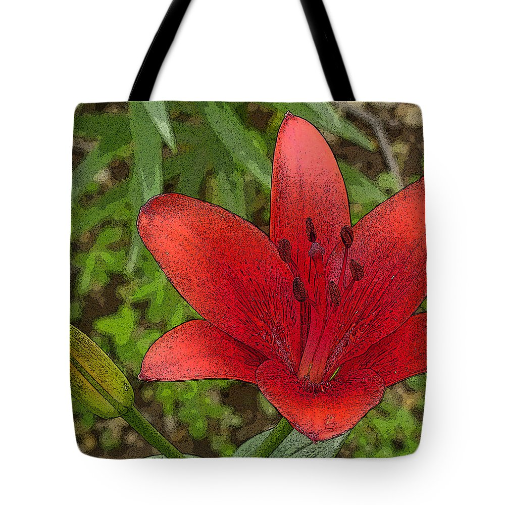 Flowers Tote Bag featuring the digital art Hazelle's Red Lily by Jana Russon