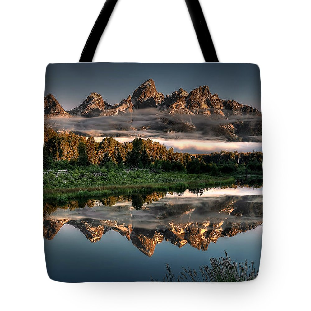 Schwabacher Landing Tote Bag featuring the photograph Hazy Reflections At Scwabacher Landing by Ryan Smith