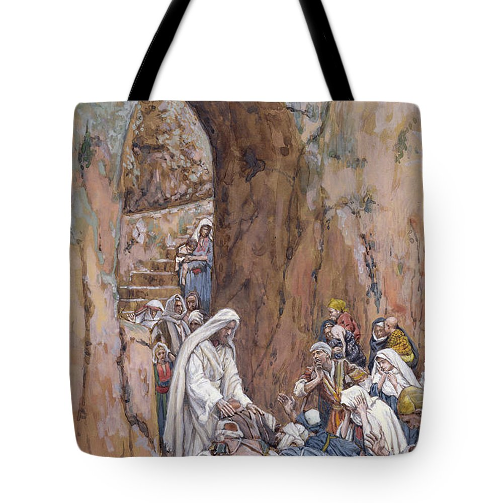 Did Tote Bag featuring the painting He Did No Miracles Save That He Healed Them by Tissot