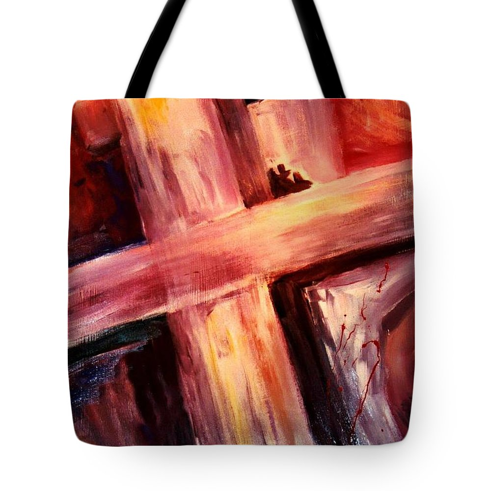 Death Tote Bag featuring the painting He Died For Me by Jun Jamosmos
