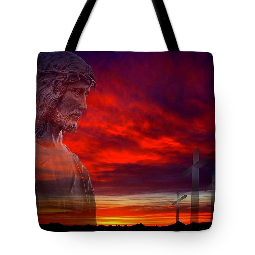 Christ Tote Bag featuring the photograph He Has Risen by Scott Kimble