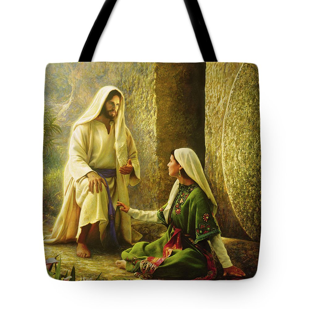 Jesus Tote Bag featuring the painting He Is Risen by Greg Olsen