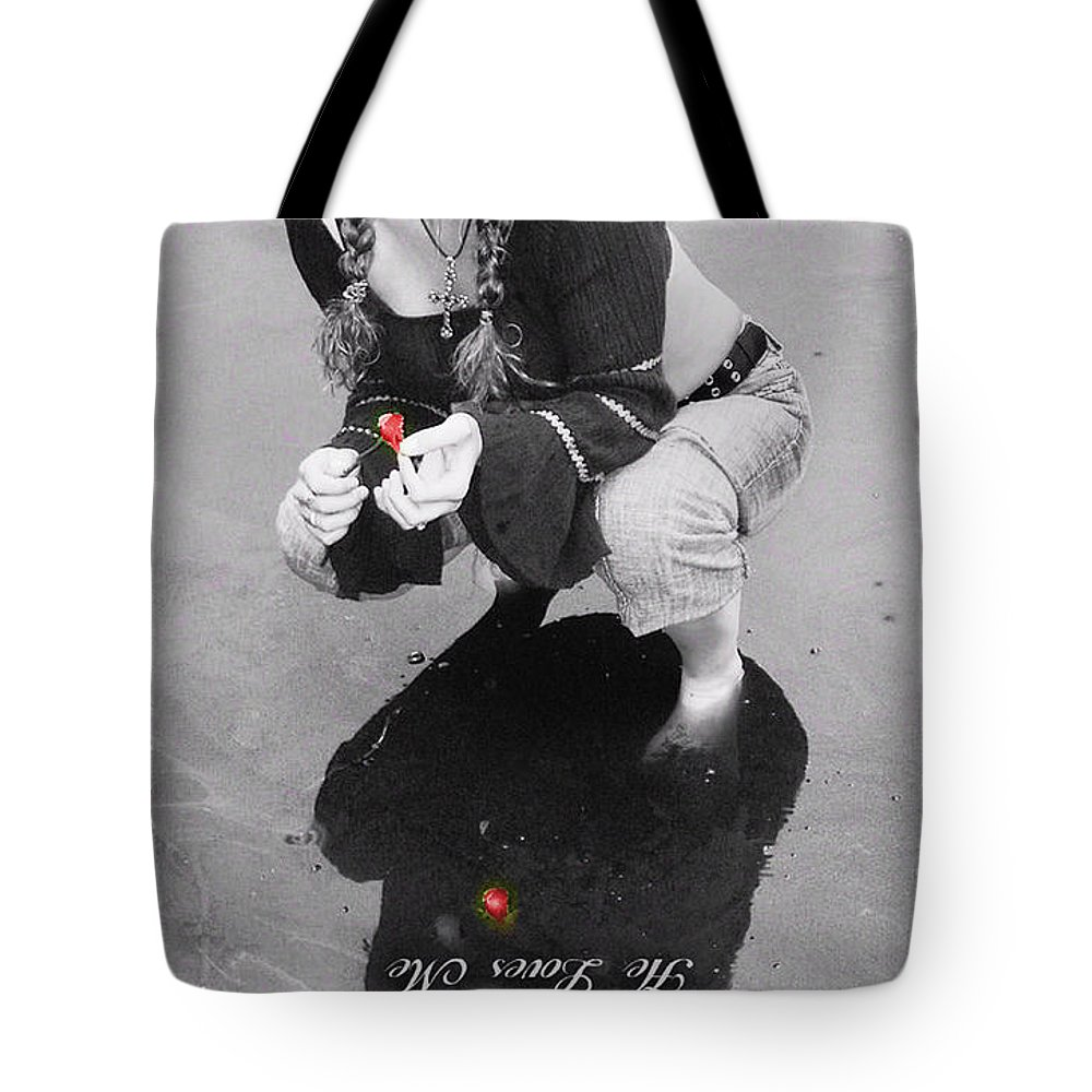 Black And White Tote Bag featuring the photograph He Loves Me Not by Kristie Bonnewell