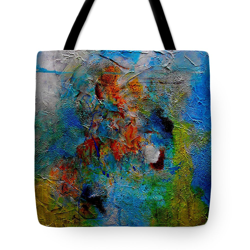 ruth Palmer Abstract Christian Contemporary Color Faith Religion Bible God Jesus Spiritual Texture Tote Bag featuring the painting He Loves Us Inspite Of Ourselves by Ruth Palmer