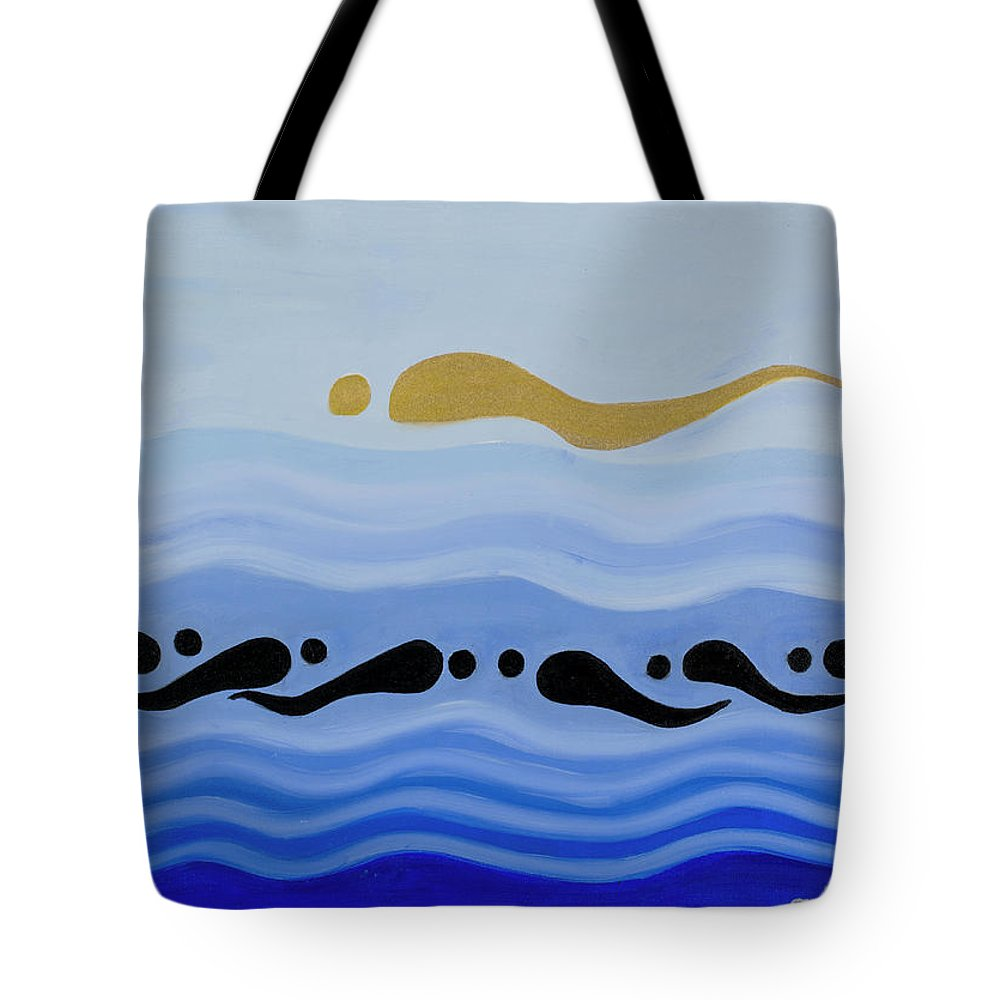 He Tu Water Tote Bag featuring the painting He Tu Water by Adamantini