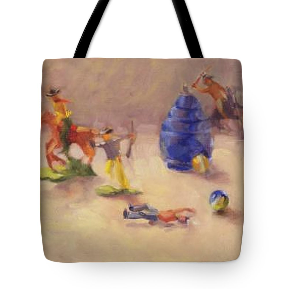 Cowboy Tote Bag featuring the mixed media Head 'em Off At The Pass by Margaret Aycock