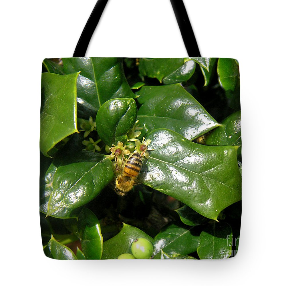 Nature Tote Bag featuring the photograph Head Over Heels In The Holly by Lucyna A M Green