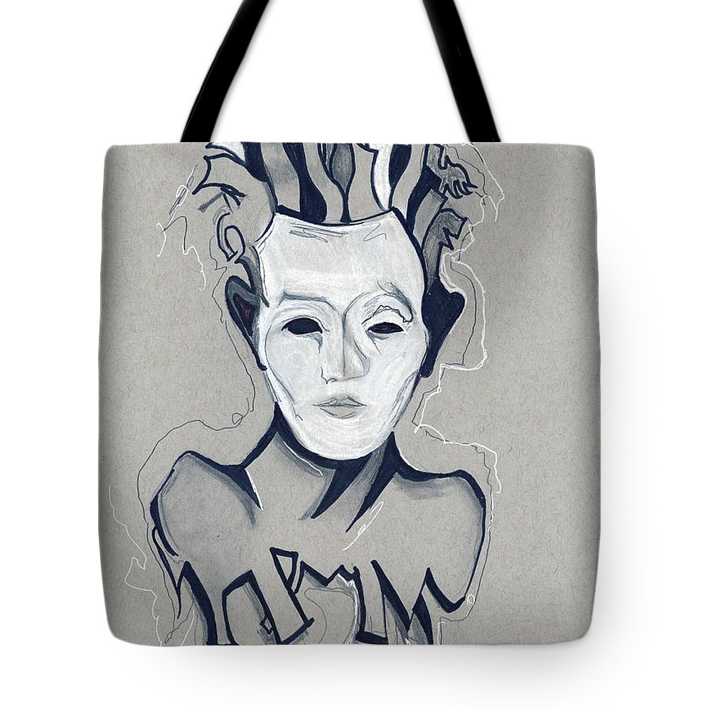 Tote Bag featuring the mixed media Head Trip by Gus Romero IV