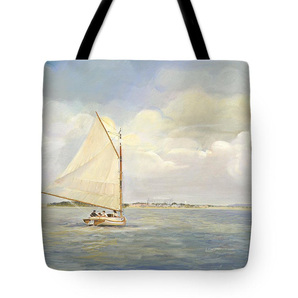 Seascapes Tote Bag featuring the painting Heading East by P Anthony Visco