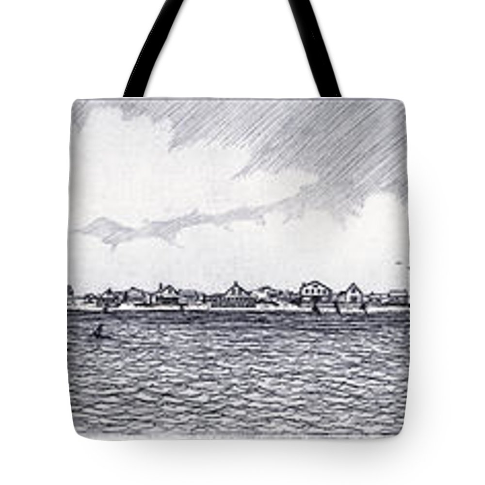 Charles Harden Tote Bag featuring the drawing Heading Out To The West Bar by Charles Harden