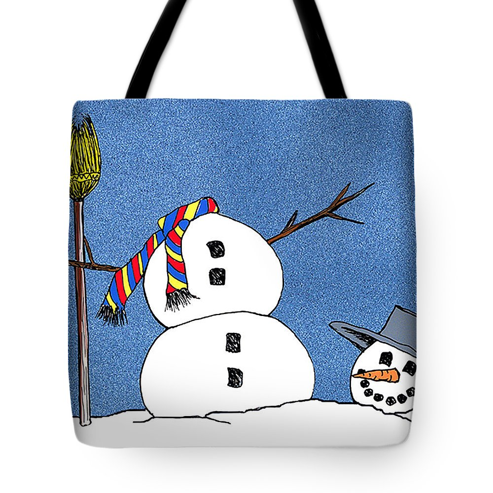 Snowman Tote Bag featuring the digital art Headless Snowman by Nancy Mueller