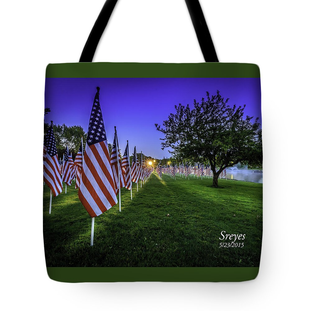 American Flag Tote Bag featuring the photograph Healing Field by Scott Reyes