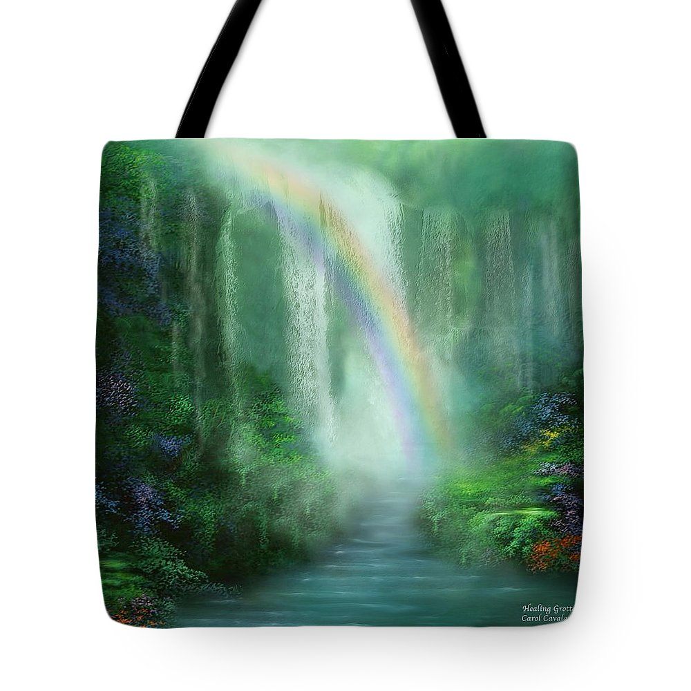 Waterfall Art Tote Bag featuring the mixed media Healing Grotto by Carol Cavalaris