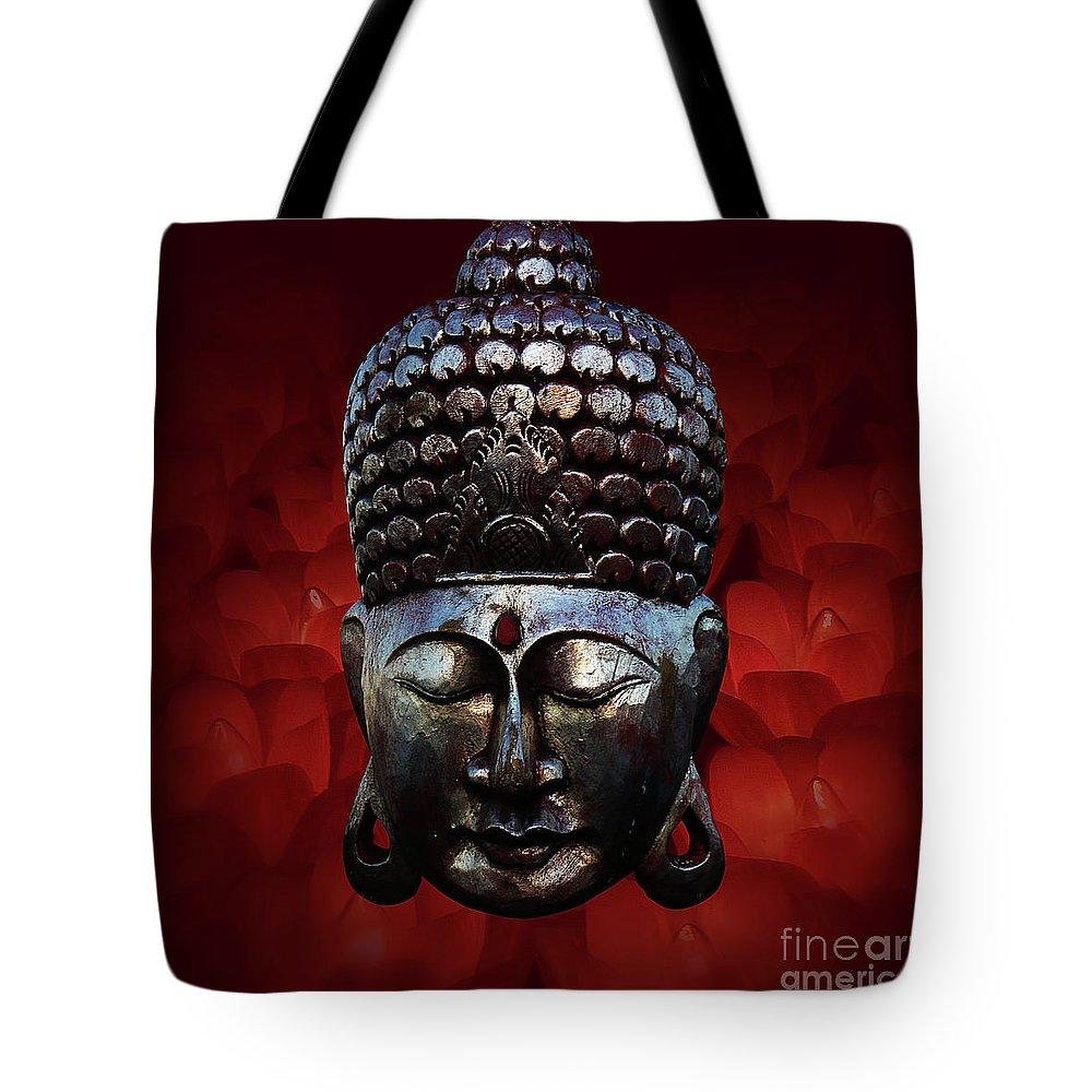 Buddha Head Tote Bag featuring the photograph Healing Lights 3 by Xueling Zou